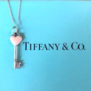Tiffany & Co. Pink Enamel Heart Key & Chain! 925